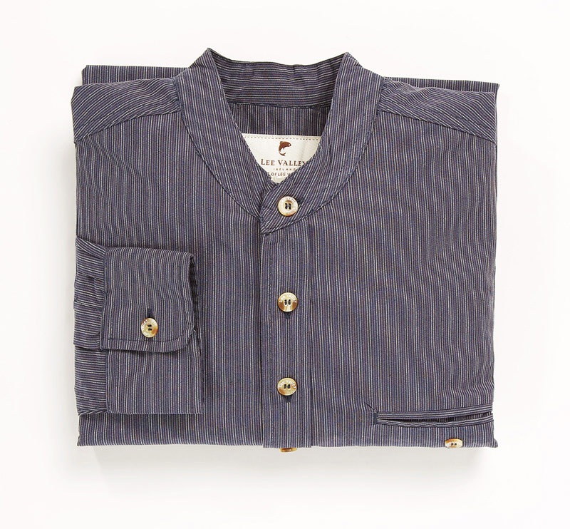 Skjorta Cotton Grandfather Shirt Navy Stripe