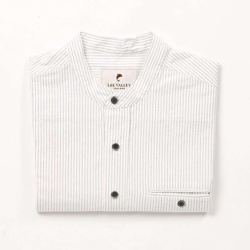 Skjorta Cotton Grandfather Shirt Navy Cream Stripe