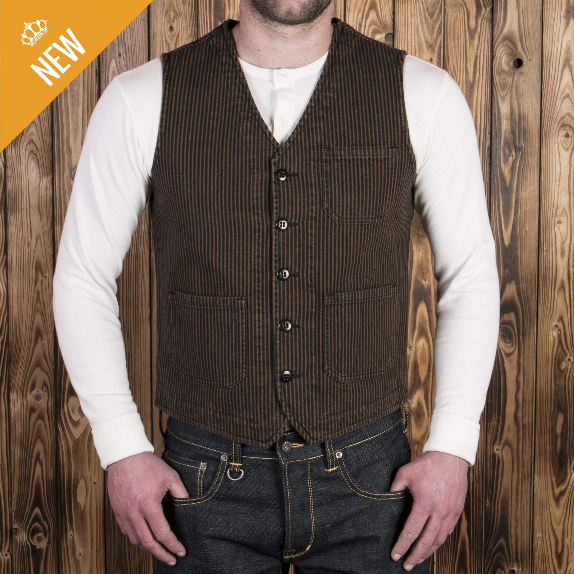 1937 Roamer Vest hickory stripe brown (väst)