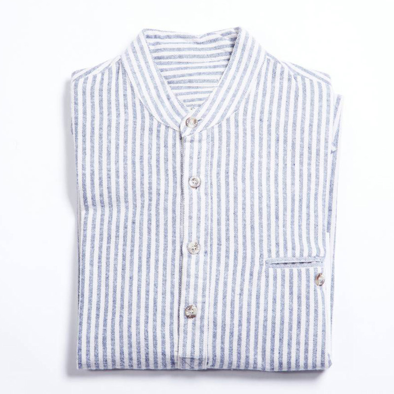 Flanellskjorta Stripe Flannel Grandad Shirt, Blue Cream Stripe